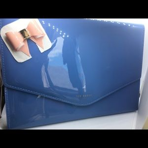 Ted Baker Blue with Pink Bow Clutch purse